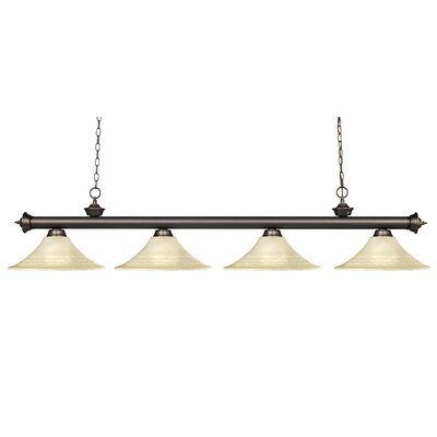 Zephyr 4-Light Glass Shade Billiard Light