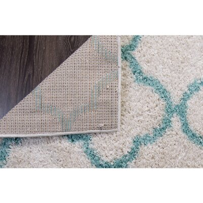 Synergy White/Aqua Area Rug Rug Size: Rectangle 79 x 102
