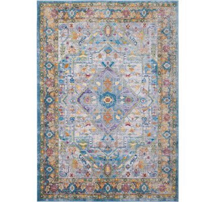 Parlin Medallion Gray/Yellow Area Rug Rug Size: Rectangle 53 x 69