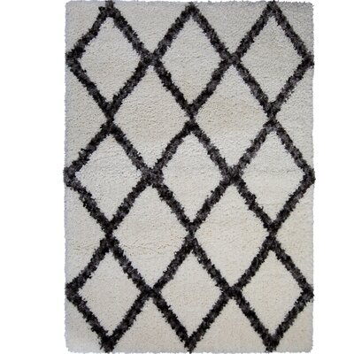 Amsterdam Ivory/Gray Area Rug Rug Size: Rectangle 53 x 72