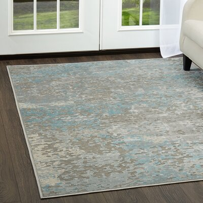 Infinity Gray/Blue Area Rug Rug Size: Rectangle 26 x 311