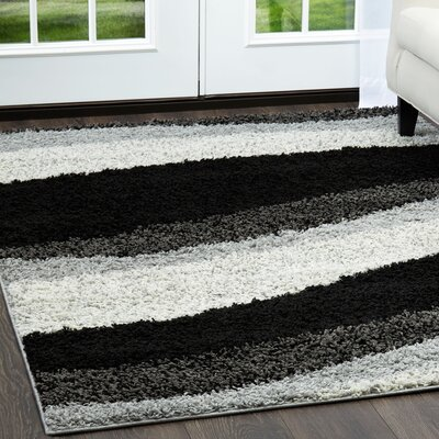 Synergy Wave Gray Area Rug Rug Size: Rectangle 92 x 125
