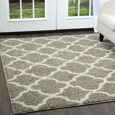 Synergy Gray/White Area Rug Rug Size: Rectangle 79 x 102
