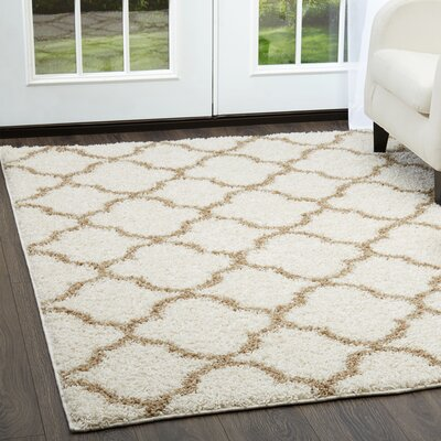 Synergy White/Beige Area Rug Rug Size: Rectangle 52 x 72