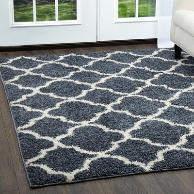 Synergy Blue/White Area Rug Rug Size: Rectangle 79 x 102