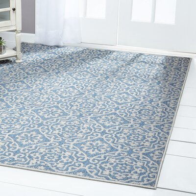 Tiled Blue/Gray Indoor/Outdoor Area Rug Rug Size: Rectangle 52 x 72