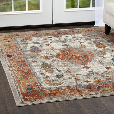 Parlin Royalty Ivory/Rust Area Rug Rug Size: Rectangle 79 x 95