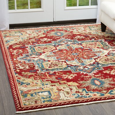 Ridgefield Red Area Rug Rug Size: Rectangle 52 x 72