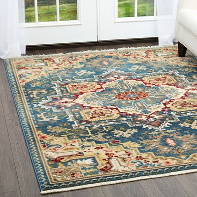 Ridgefield Blue Area Rug Rug Size: Rectangle 79 x 101