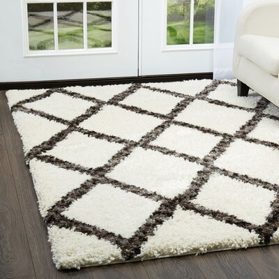 Amsterdam Ivory/Gray Area Rug Rug Size: Rectangle 79 x 102