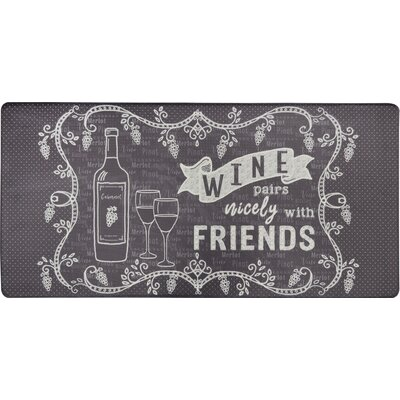 Cook N Comfort Wine Pairs Nicely Kitchen Mat