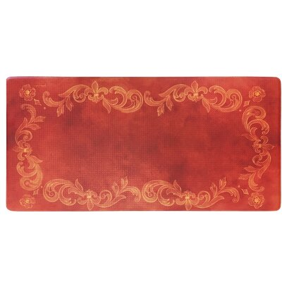 Cook N Comfort Tuscan Fleur Kitchen Mat Color: Red