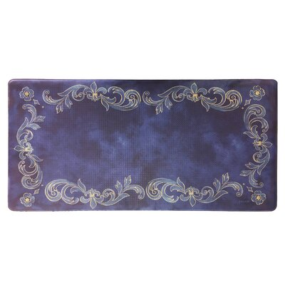 Cook N Comfort Tuscan Fleur Kitchen Mat Color: Navy