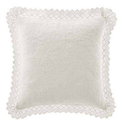 Crochet Throw Pillow by Laura Ashley Home Color: Ivory