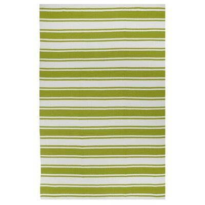 Sage Green/White Striped Indoor/Outdoor Area Rug Rug Size: 5 x 8
