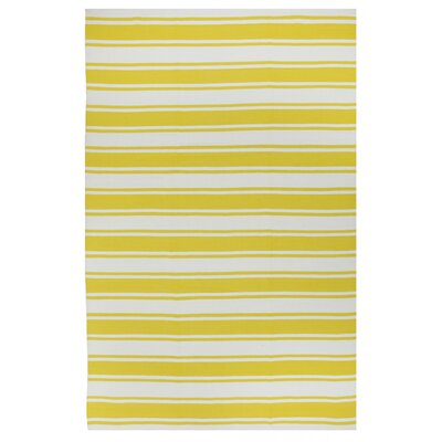 Lucky Yellow/White Striped Indoor/Outdoor Area Rug Rug Size: 3 x 5