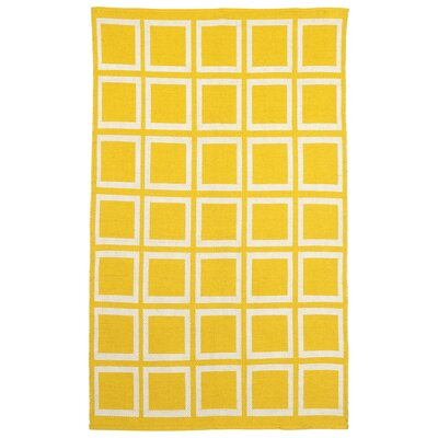 Zen Hand-Woven Cotton Yellow/White Area Rug Rug Size: Rectangle 8 x 10