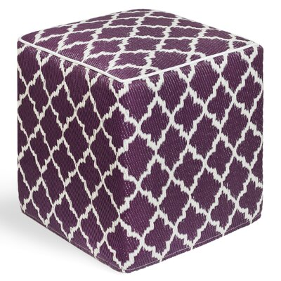 World Tangier Ottoman with Cushion Finish: Plum/White