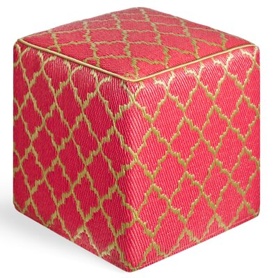 World Tangier Ottoman with Cushion Finish: Pinkberry/Bronze