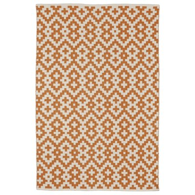 Zen Samsara Cotton Orange Peel & Bright White Area Rug Rug Size: 5 x 8