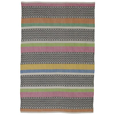 Zen Maya Hand Woven Cotton Black/Pink/Green Area Rug Rug Size: 6 x 9
