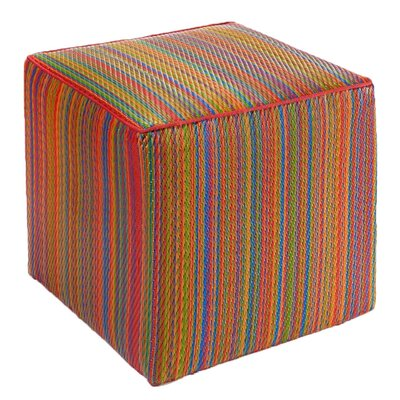 World Cancun Pouf Ottoman with Cushion Finish: Multi