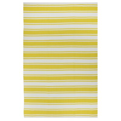 Lucky Hand-Woven Yellow/White  Indoor/Outdoor Area Rug Rug Size: Rectangle 26 x 8