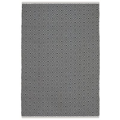 Estate Veria Hand-Woven Black/White Indoor/Outdoor Area Rug Rug Size: Rectangle 6 x 9