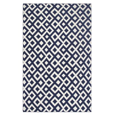 Metro Marina Cotton Throw Blanket Color: Indigo / Natural