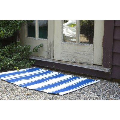 Zen Lucky Hand-Woven Cotton Blue/White Area Rug Rug Size: Rectangle 4 x 6