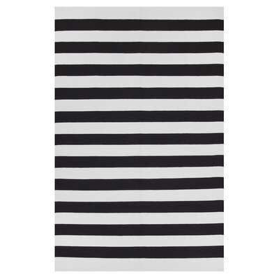 Anniedale Hand-Woven 100% Cotton Black/White Area Rug