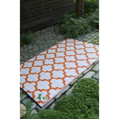 Bremond Block Hand Woven White/Orange Indoor/Outdoor Area Rug Rug Size: 3 x 5