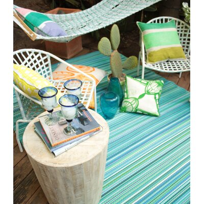 Woodlawn Turquoise and Moss Green Indoor/Outdoor Area Rug