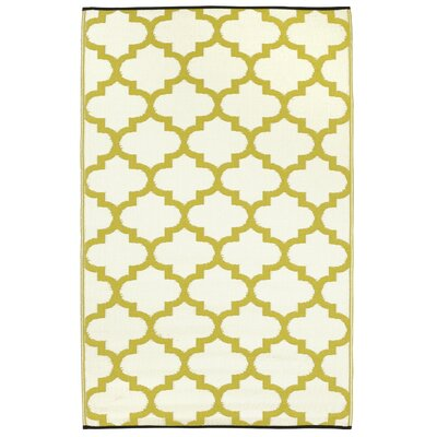 Bremond Block Hand Woven Yellow Indoor/Outdoor Area Rug Rug Size: 5 x 8