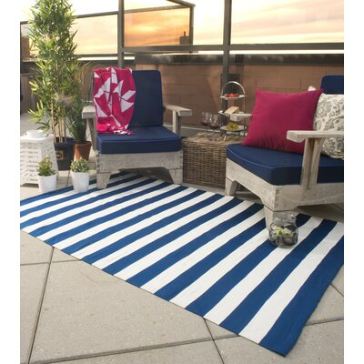 Nantucket Striped Blue & White Indoor/Outdoor Area Rug Rug Size: 5 x 8