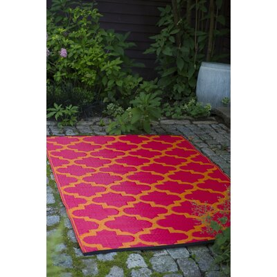 Bremond Block Hand Woven Orange/Pink Indoor/Outdoor Area Rug Rug Size: 5 x 8