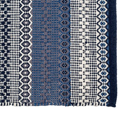 Avaline Hand-Woven Cotton Blue/White Area Rug Rug Size: Rectangle 10 x 14