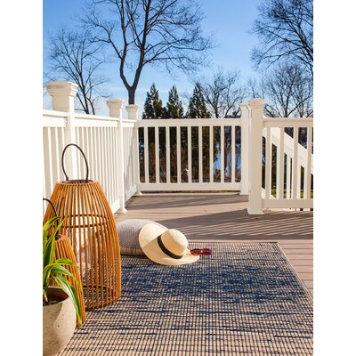 World Blue Indoor/Outdoor Area Rug Rug Size: 5 x 8