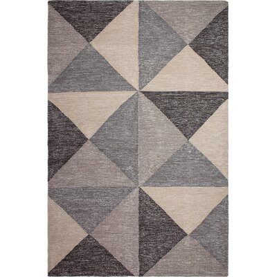 Metro Hand-Woven Gray/Beige Area Rug Rug Size: Rectangle 4 x 6