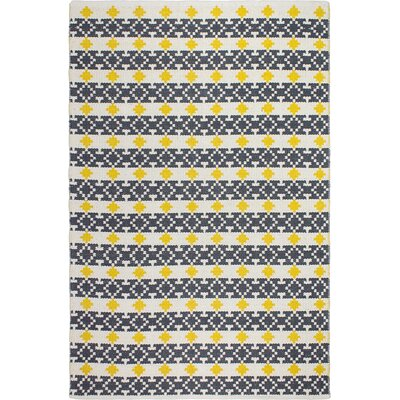 Estate Hand-Woven Yellow/Gray Indoor/Outdoor Area Rug Rug Size: 6 x 9