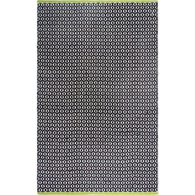 Estate Hand-Woven Black Indoor/Outdoor Area Rug Rug Size: 6' x 9'