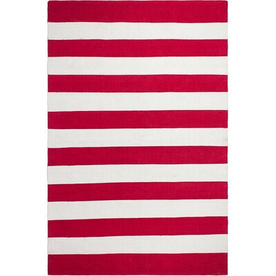 Nantucket Striped Hand-Woven Red/White Indoor/Outdoor Area Rug Rug Size: Runner 26 x 8