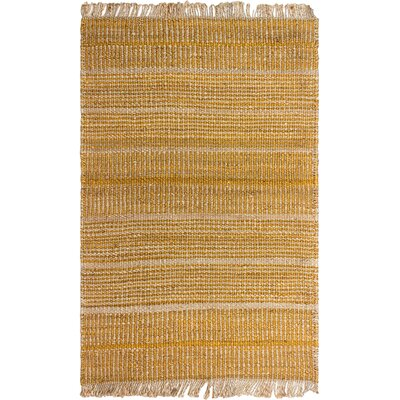 Delmer Hand-Woven Gold Area Rug Rug Size: 6 x 9