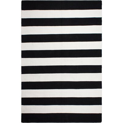 Nantucket Striped Black/White Indoor/Outdoor Area Rug Rug Size: 5 x 8