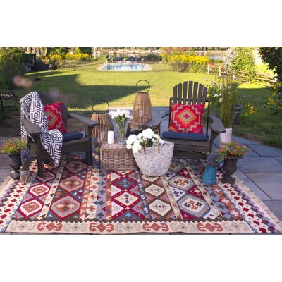 Heritage Hand Woven Beige/Red Indoor/Outdoor Area Rug Rug Size: 5 x 8
