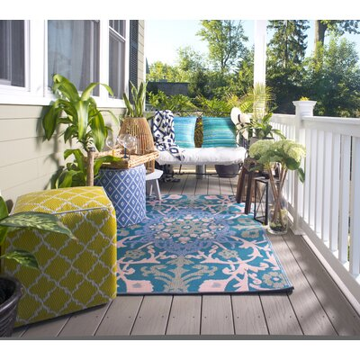Martina Indoor/Outdoor Blue/Beige Area Rug Rug Size: 6 x 9