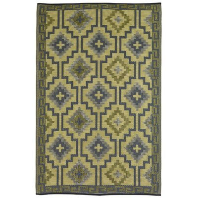Carleton Yellow/Grey World Indoor/Outdoor Area Rug Rug Size: 4 x 6