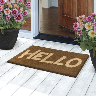 Block Letter Hello Door Mat