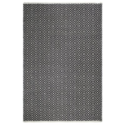 Markowski Hand-Woven Black/White Indoor/Outdoor Area Rug Rug Size: 5 x 8