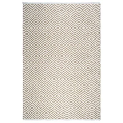 Markowski Hand-Woven Almond/White Indoor/Outdoor Area Rug Rug Size: 4 x 6